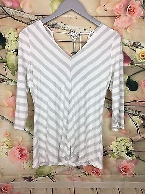 WHBM Women Striped Shirt Sz S Silver White Chevron Top 3/4 Sleeve V Neck Back  | eBay