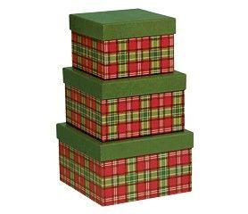 Set/3 Square Boxes Plaid -41348