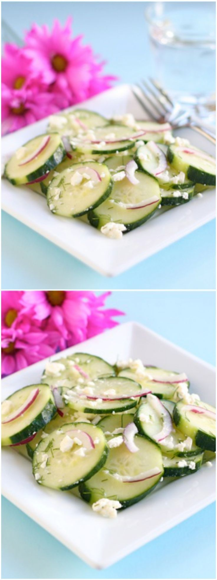 Easy Cucumber Feta Salad Recipe on twopeasandtheirpod.com. Make this ...