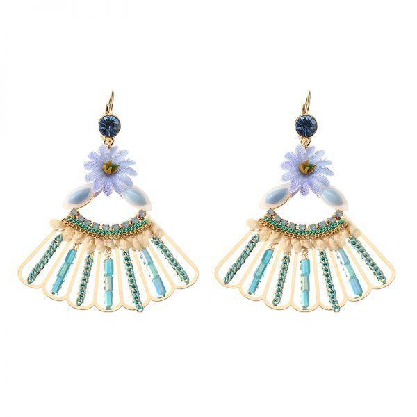 Earrings in the army bohemian 14k gold plated peacock tail shape flower ear drop elegant blue opal earrings for women #9 #ct #earrings #earrings #7mm #earrings #victorian #era #samp;i #earrings