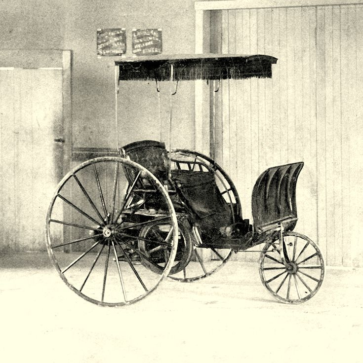 """In 1891 this little vehicle was revolutionary. """"Get a horse!"""" neighbors complained; dogs barked. Most folks were just curious to see John Lambert drive around their muddy roads without the aid of a horse."""