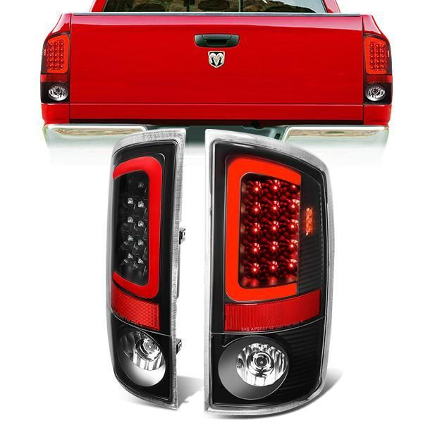 07 09 Dodge Ram 1500 2500 3500 Red C Bar Led Rear Brake Tail Lights Black Dodge Ram 1500 Tail Light Ram 1500