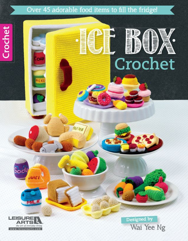 Crochet pattern for play food and tiny fridge by Maggie's Crochet