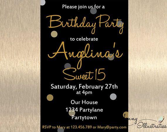 15th Birthday Invitation Sweet 15 Birthday by JennyIllustrations