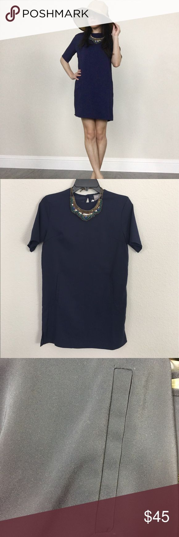 """ASOS navy shift dress 2P NWT navy shift dress with pockets (still sewn). You can dress it up or down. Super comfortable for spring or summer time! Necklace no included. Approx: 30.75""""L and 16.5"""" armpit to armpit. Please ask question. No trades or returns ASOS Petite Dresses"""