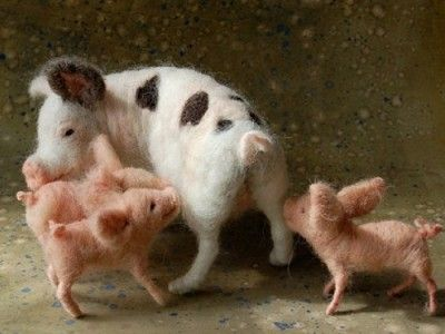 Pig By Sarafina Needle Felted Fiber Art Animals