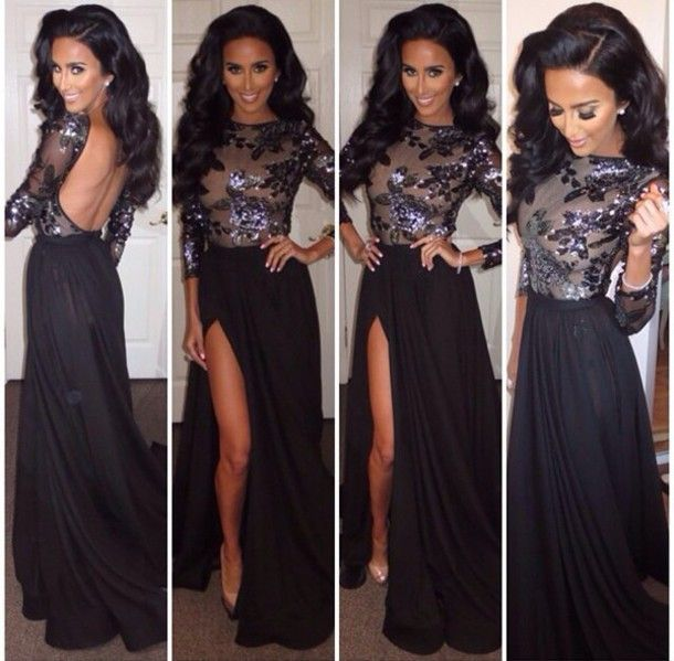 glitter sequin black long sleeve prom dresses backless ,long prom dresses with slits 2015