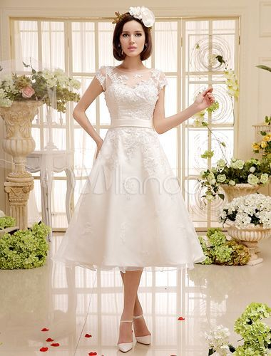 Ivory Beaded Lace Short Wedding Dress with Jewel Neck Sash - Milanoo.com