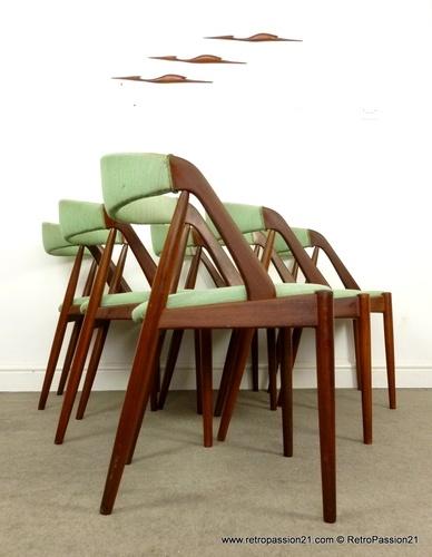 6 Teak Chairs by Kai Kristiansen Denmark - Mid Century