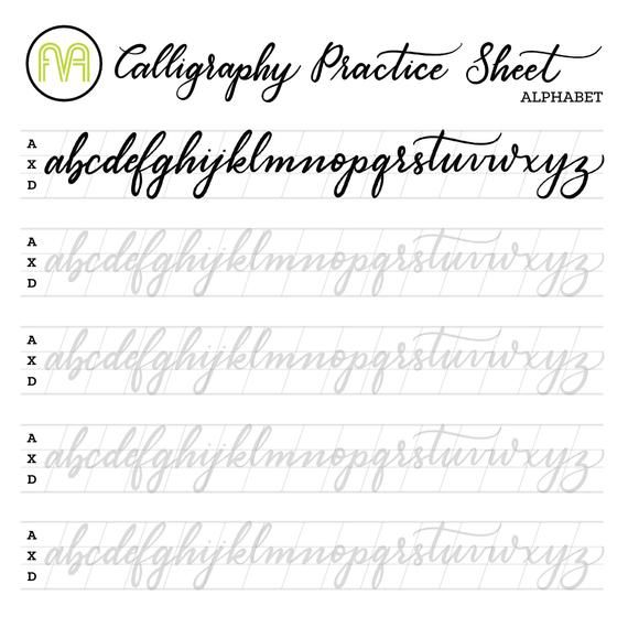 Calligraphy Practice Sheets Lowercase Alphabet Lettering Digital  Download Printable Brush Lettering Practice, Lettering Alphabet,  Alphabet Practice Sheets
