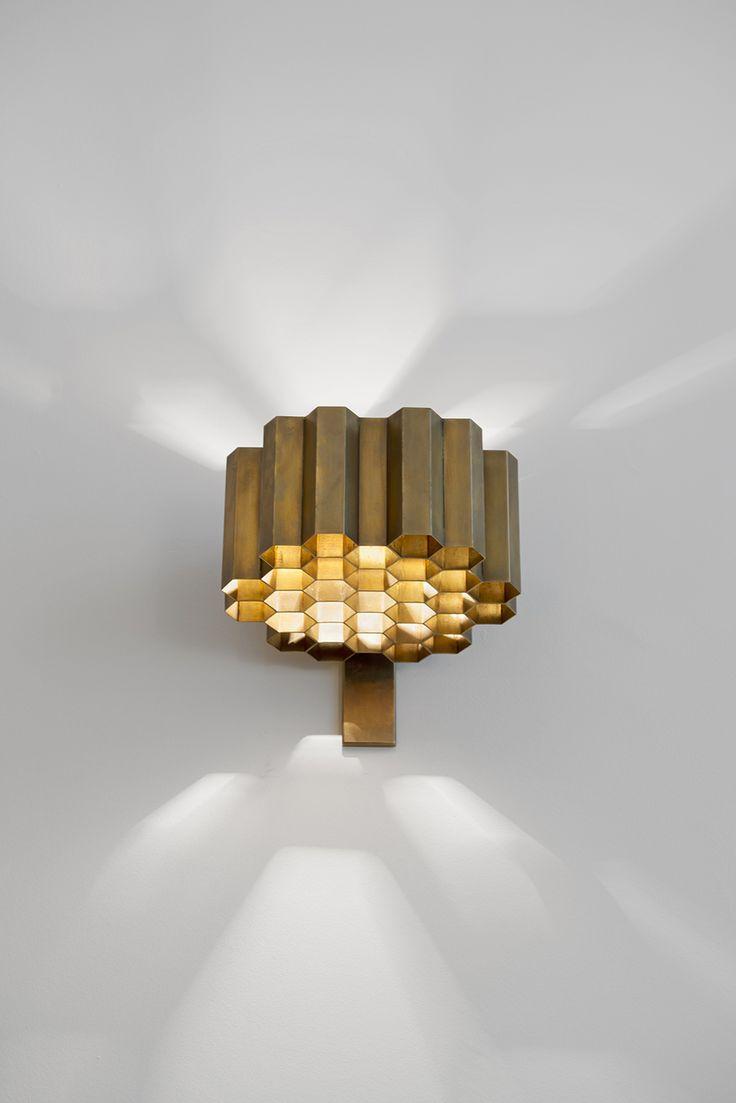 Jules Wabbes; Brass 'Honeycomb' Wall Light, 1960s.