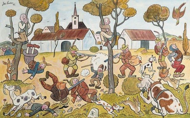 Josef Lada: Hon na návsi, 1942 kvaš, papír, 37 x 59 cm, cena: 1 320 000 Kč