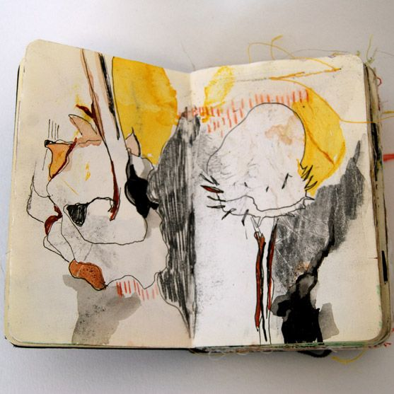 Sketch book of Alison Worman (via Book by it's Cover) who uses a combination of collage, stitched and drawn shapes