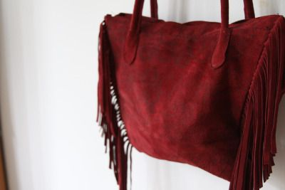 Red leather boho bag in flower print