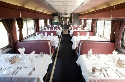 Dining Car on Amtrack's Auto Train running between Virginia and Florida.