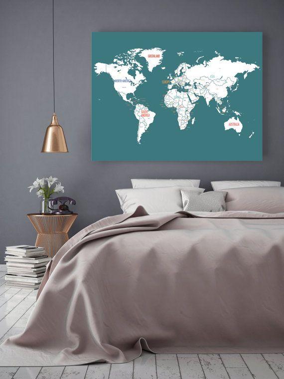 Wereld kaart Canvas wereld kaart Wall Art, reizen kaart, de kaart van de wereld van de Canvas, reizen Decor, kwekerij reizen, bruiloft-gastenboek, wereldkaart voor kinderen, blauw