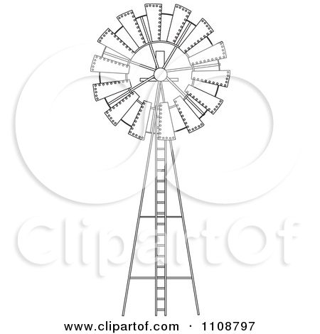 Clipart Black And White Outlined Windmill - Royalty Free Vector Illustration by Dennis Holmes Designs