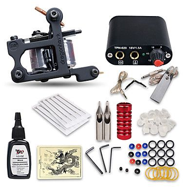 Beginner+Tattoo+Kit+1+Machine+Professional+Tattoo+Kit+1+Cast+Iron+Machine+Liner+&+Shader+1+Mini+Power+Supply+10+Tattoo+Needles+No+Carrying+Case+–+USD+$+45.99