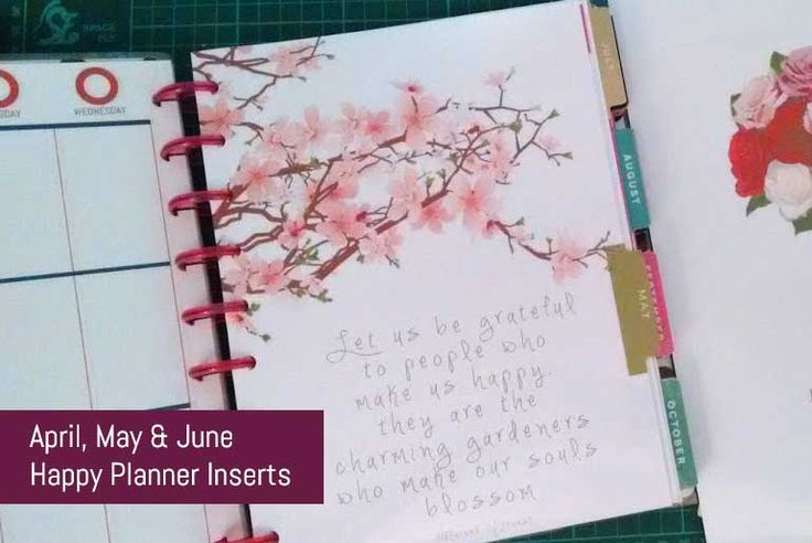 Happy Planner Free Download - April, May & June Inserts and Dividers