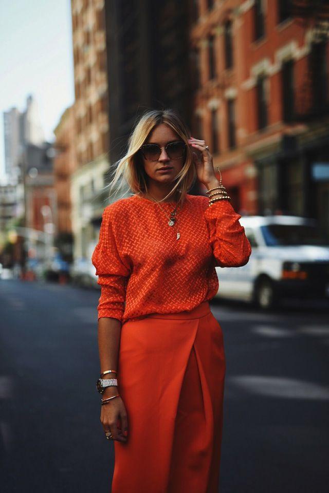 Nina Suess: North Moore Street style, laranga, look monocromático