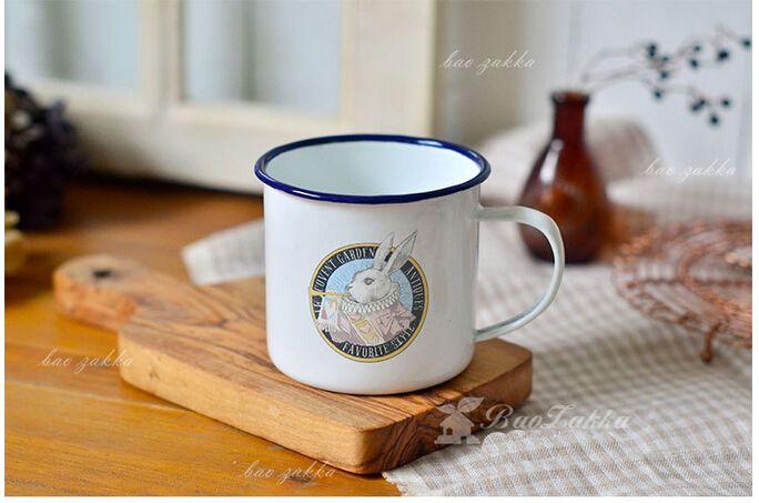 Aliexpress.com : Buy 8CM Vintage Enamel Mug White Rabbit Bunny ...