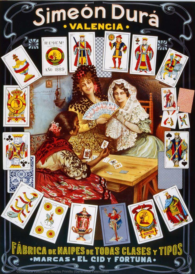 Simeón Durá : Valencia : Fábrica de naipes de todas clases y tipos : Marcas El Cid y Fortuna (s.a.). 1 lám. (cartel) : col. ; 63 x 45 cm