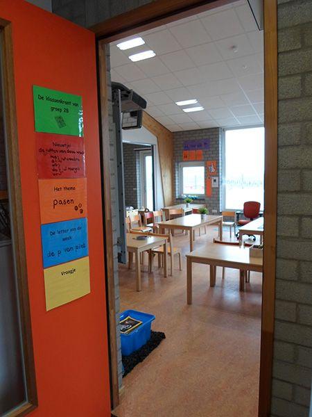 """""""Klassenkrant"""" op de deur. Nieuwtje, thema,letter van de week, vraag aan ouders.."""