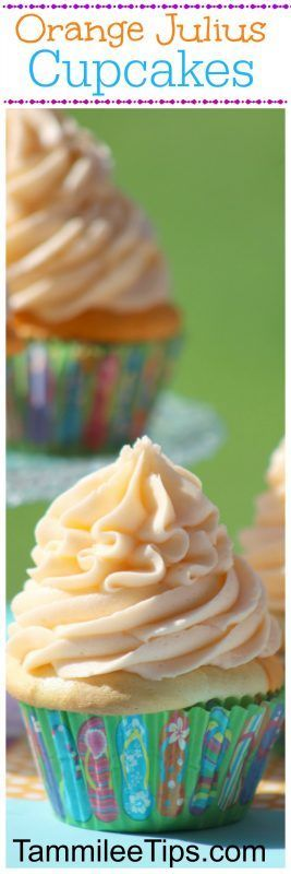 Orange Julius Creamsicle Cupcakes are the perfect sweet treat! Made from scratch these cupcakes are great for birthday parties, baby showers, bridal showers, picnics, barbecues and summer fun.