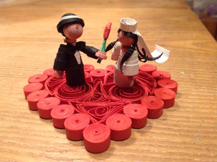 Sposi su cuore quilling 3 d