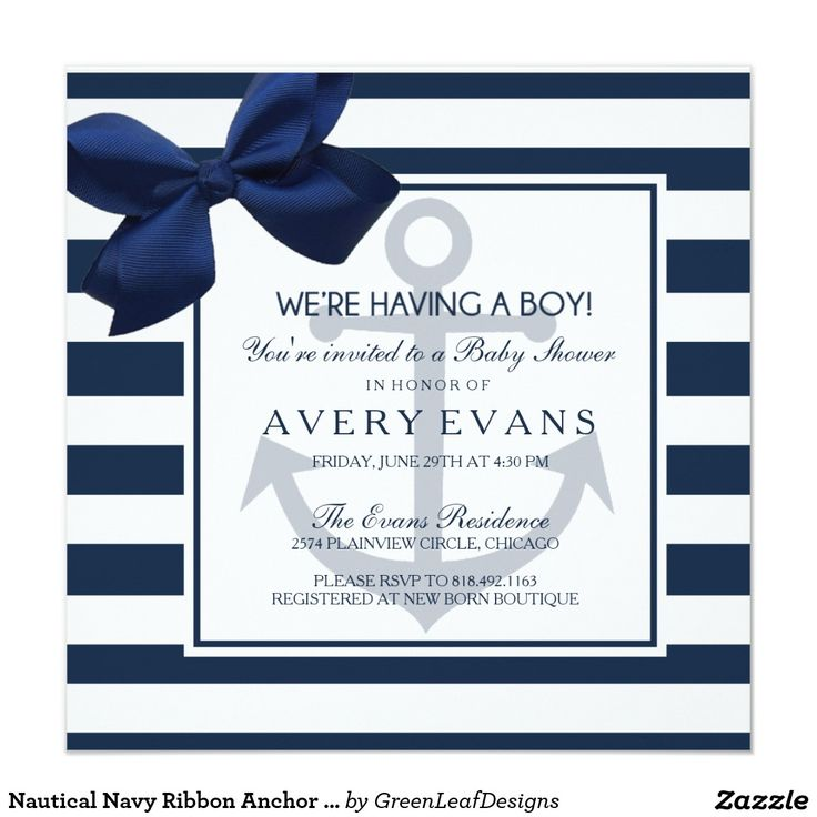 nautical navy ribbon anchor itu0027s a boy baby shower card