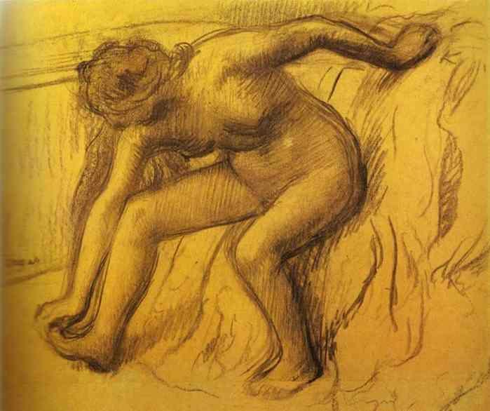 Dit is het tweede schilderij dat wij moesten natekenen. Dit is ''After Bath'' van Degas.