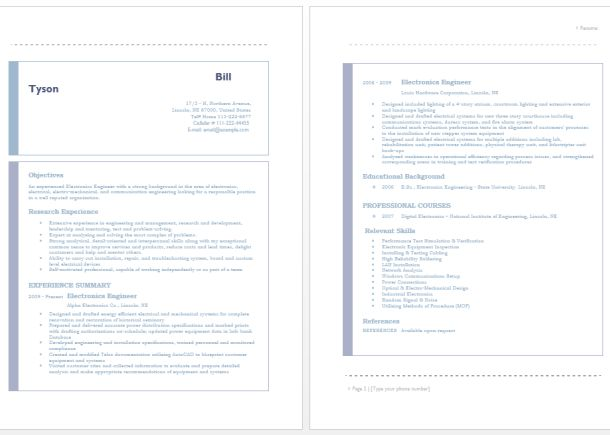 electrical planner resume