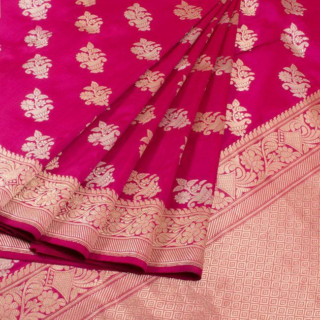 Buy online Handwoven Magenta Kadhwa Banarasi Katan Silk Saree With Floral Silver & Gold Zari Butis 10013068