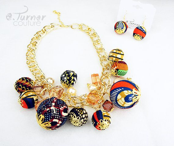 Multicolor African Necklace  Ankara Chain by ETurnerCouture