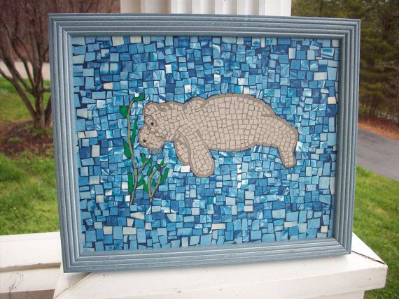 Polymer Clay Mosaic Manatee Wall Decor Manatee Picture Blue