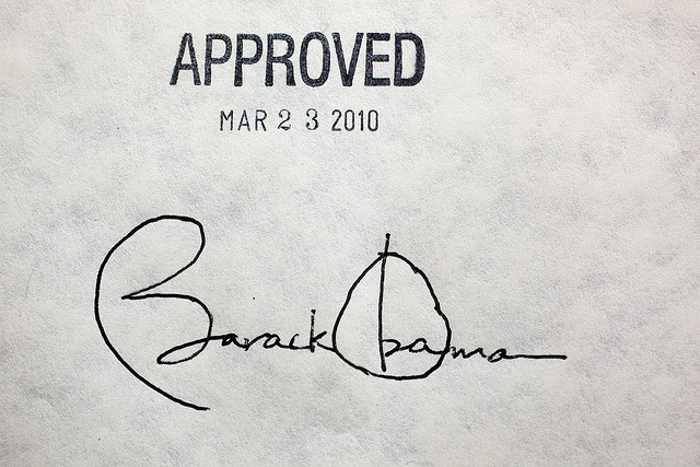 President Barack Obama's signature on the health insurance reform bill at the White House, March 23, 2010.