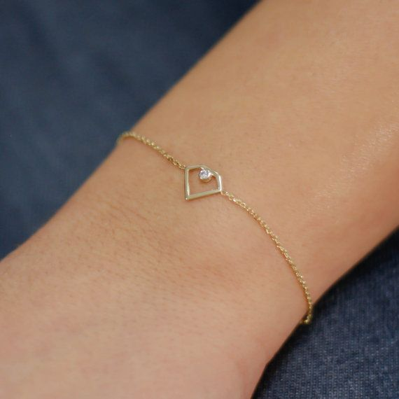 Diamond shape bracelet 14K solid gold white by KyklosJewelryLab