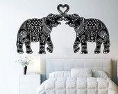 Wand Aufkleber Vinyl Aufkleber Decals Art Home Dekor Design Wandbilder indischer Elefant Blumenmustern Mandala Tribal Love Ganesh Schlafzimmer Wohnheim AN14