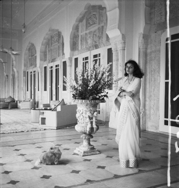 HH Maharani Gayatri Devi, Rajmata of Jaipur. She was daughter of Prince Jitendra Narayan and Indira Devi of Cooch behar. She was celebrated for her classical beauty was counted in 'The Ten Most Beautiful Women of the World' along with actress Leela Naidu by Vogue Magazine. She ran for Parliament in 1962 and won the constituency in the world's largest landslide victory. She died on 29 July 2009 in Jaipur