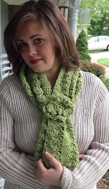 #Crochetscarf with flower, green crochet scarf, green crochet flower by #onceuponaroll #zibbetflash -  $20.00