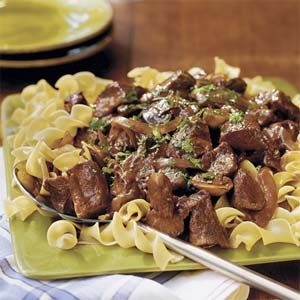 Beef With Red Wine Sauce | MyRecipes.com ~ Fifteen minutes of prep time are all you need to enjoy this flavorful beef-and-noodle meal at the end of the workday. The meat takes on the full flavor of the mushrooms, onion slices, and secret ingredient: brown gravy mix. Serve over egg noodles for a one-dish meal that's big on comfort and low on effort.