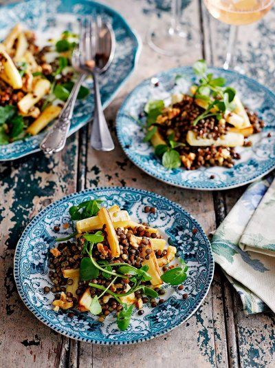 Jamie's puy lentil, parsnip and walnut salad is a deliciously hearty gluten free and vegetarian salad recipe that works beautifully as a starter or side dish.
