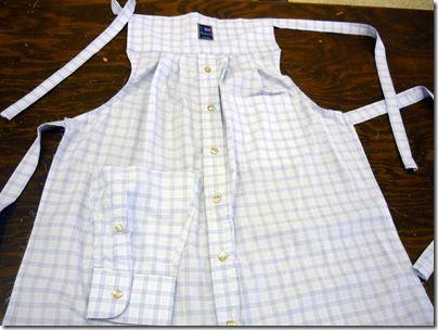 Men's dress shirt becomes apron (need to clean out hubbies closet, he he he)