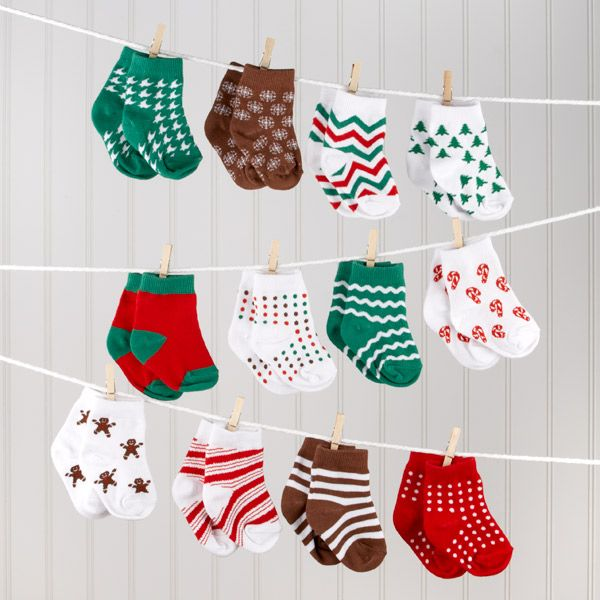 Christmas or winter baby shower -- grey, white, silver, etc... socks instead.
