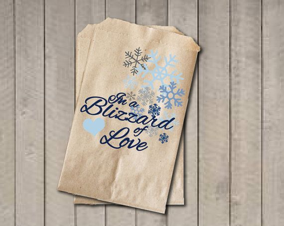 Winter Wedding Favor Bags, Snowflake Favor Bags, Wedding Candy Bags, Winter Wedding Candy Buffet Bags - In a Blizzard of Love, Bridal Shower