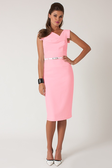 Pretty in Pink ~Original Classic Jackie O:Classic fitted pencil dress, with asymmetrically draped neckline. Our most popular silhouette