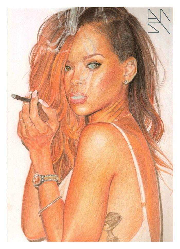 Rihanna - Derwent coloured pencils @a