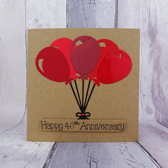 40th anniversary card Ruby wedding anniversary card Handmade