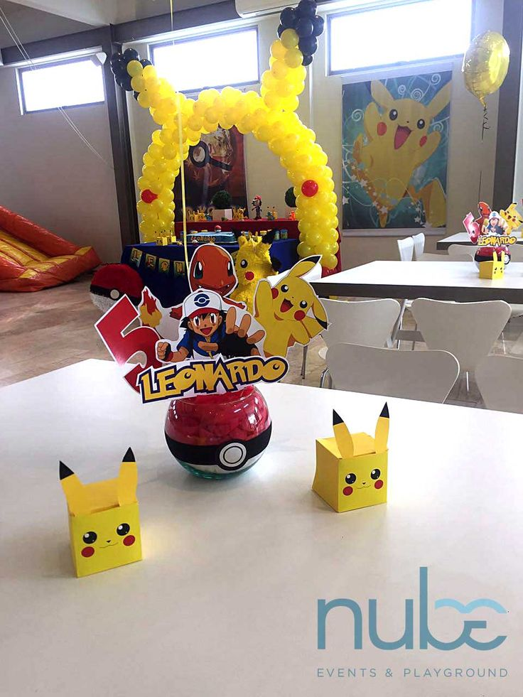 arco de globos pokemon decoración pokemon centros de mesa pokemon