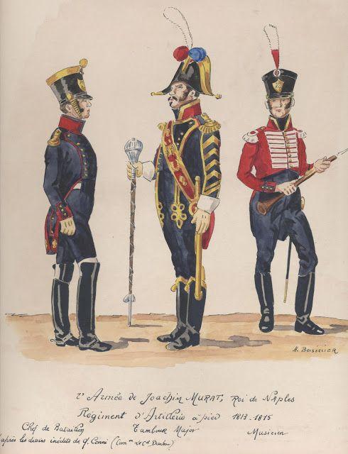 2e Armée de Joachim Murat, roi de Naples Régiment d'Artillerie à pied 1813-1815 Chef de bataillon Tambour Major Musicien